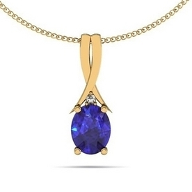 .22ct Oval Tanzanite Pendant With .01 ct Diamond in 14k Yellow Gold   Tanzanite Pendants   Scoop.it