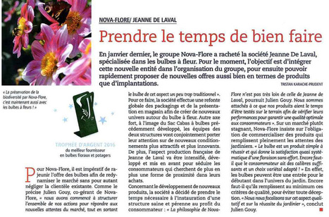 TROPHEE D'ARGENT DU MEILLEUR FOURNISSEUR BULBES - jardineries Hors-série - 21 juin 2016 | Revue de presse Nova-Flore | Scoop.it