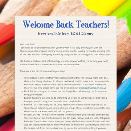 Welcome Back Teachers! - A fantastic open letter! | Daring Ed Tech | Scoop.it