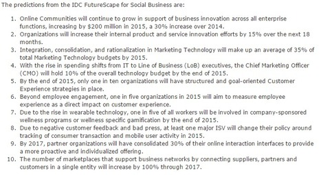 IDC Reveals Social Business Predictions for 2015 - IDC | Digital Marketing Ecosystems | Scoop.it