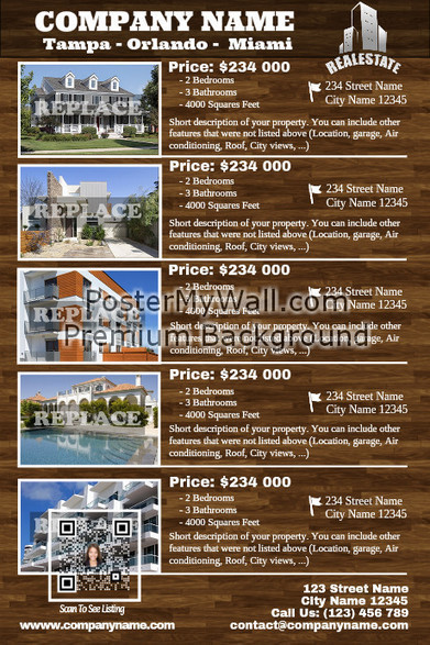 Real Estate Listing flyer - Transparent style - With visual QR code on PosterMyWall | QR CODE TEMPLATES | Scoop.it