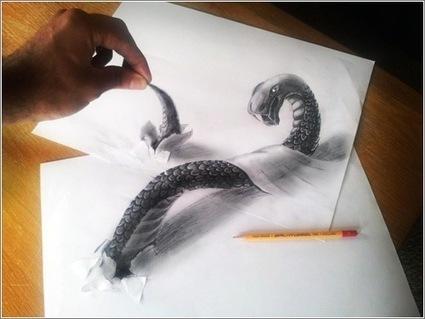 Estos espectaculares dibujos parecen tridimensionales. Y que salen del papel | Microsiervos (Arte y Diseño) | plastica tridimension | Scoop.it