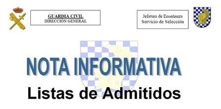 Lista definitiva admitidos Oposiciones Guardia Civil. Lugar y hora de examen | Oposiciones | Scoop.it
