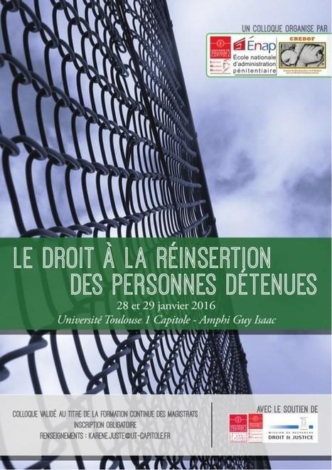 Le droit à la réinsertion des personnes détenues (Colloque IMH/ ENAP/ CREDOF, 28 et 29 janvier 2016, Toulouse) | Résistances | Scoop.it