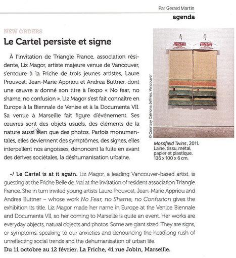 COTE Magazine, Sept-Oct 2013 | New Orders : revue de presse de la programmation 2013 du Cartel à la Friche belle de mai | Scoop.it