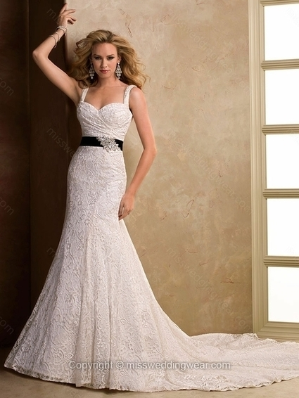 Trumpet/Mermaid Straps Lace Court Train Sashes / Ribbons Wedding Dresses   2014 wedding dress online   Scoop.it