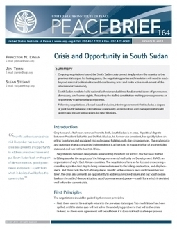 Crisis and Opportunity in South Sudan   peacekeeping and peacebuilding   Scoop.it