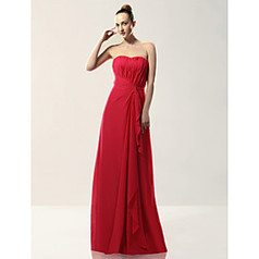 Sheath/ Column Strapless Floor-length Draped Chiffon Over Mading Bridesmaid/ Wedding Party Dress | Angelasmith | Scoop.it