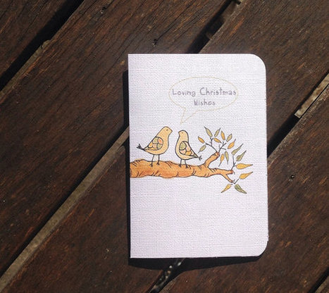Loving Christmas Wishes Illustrated Christmas Card with Inside Message + Envelope | birds, yellow, greeting card, cream, love, | Sell Handmade Online | Scoop.it