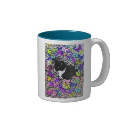Freckles in Butterflies II - Tuxedo Cat Coffee Mugs from Zazzle.com | Fanciful Animals to Delight You | Scoop.it