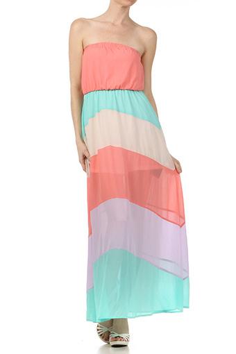 Ashlee- Semi-Sheer Skirt Strapless Chevron Dress | Rent The Dress | Scoop.it