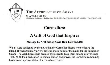 Archbishop Hon apologizes to Carmelite Sisters - KUAM.com | Priest | Scoop.it