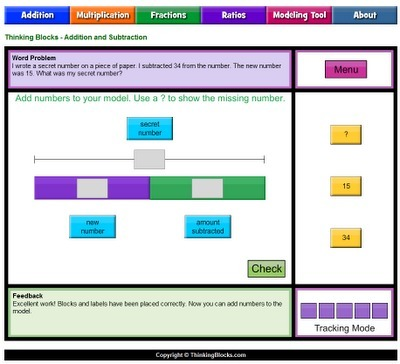 Free Technology for Teachers: Thinking Blocks - Model Your Math Problems | Primary School Teaching | Scoop.it