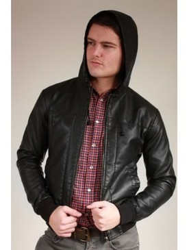 Mens Black Hooded Bomber Jacket - Made from Cowhide Leather | Shopping | Scoop.it