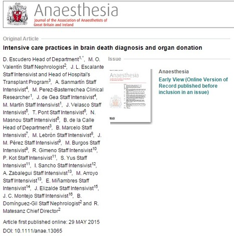 Intensive care practices in brain death diagnosis and organ donation - Escudero - 2015 - Anaesthesia - Wiley Online Library | Organ Donation & Transplant Matters Resources | Scoop.it