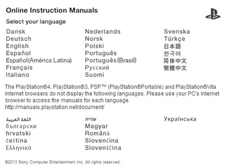 (MULTI) - Online PS4 Instruction Manuals in 31 languages | Sony Computer Entertainment Inc. | Glossarissimo! | Scoop.it