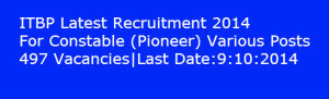 ITBP Recruitment 2014 itbpolice.nic.in For Constable (Pioneer) Posts | www.latestjobsopening.com | Scoop.it