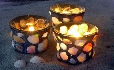 Porta velas con conchas de mar y arena las ma - Manualidades con conchas ...