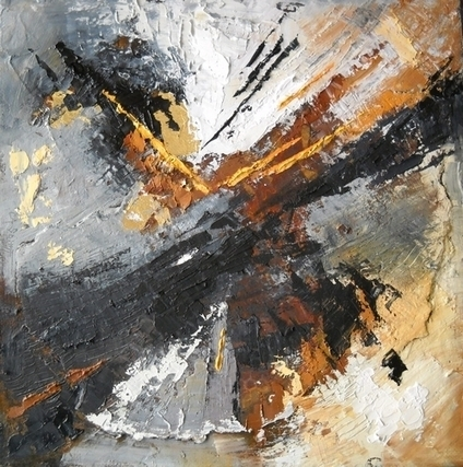 "Mixed Media Painting, Abstract Art, ""Gold Rush"" by Carol Schiff, 10x10x.75""  SOLD 