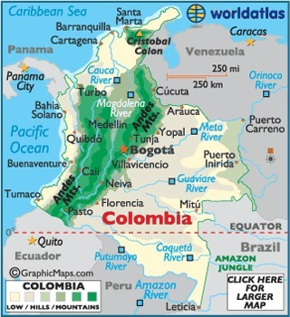 Map of Colombia – colombia South America, Colombia Map, Mapa de Colombia - Worldatlas.com | Colombia, Jordan Renegar | Scoop.it