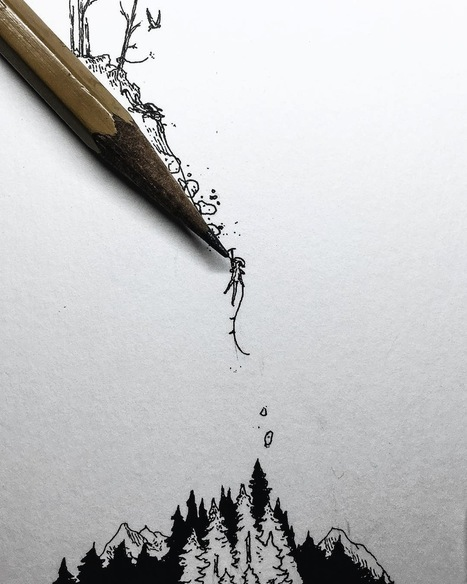 Tiny Ink Drawings Scaled to the Size of Pencils, Fingers, and Matchsticks by Christian Watson   Amazing art!   Scoop.it