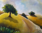 Art, Original Painting, Oil Painting, Landscape painting,  Impressionist Painting, Red,  Yellow, Blue and Green art, Title:  FOUR CYPRESSES | The Art World | Scoop.it