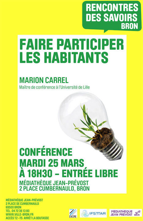 """Faire PARTICIPER les habitants"", le mardi 25 mars 2014, à 18h30, à Bron 