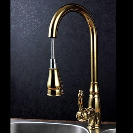 Ti-PVD Gold Deck Mounted Brass Pullout Spray Kitchen Faucet with Single Handle -- Faucetsmall.com | Bathroom Sink Faucets & Kitchen Faucets | Scoop.it