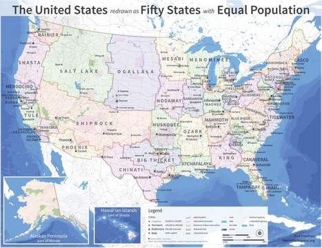 The 50 states, redrawn with equal population | Random Ephemera | Scoop.it
