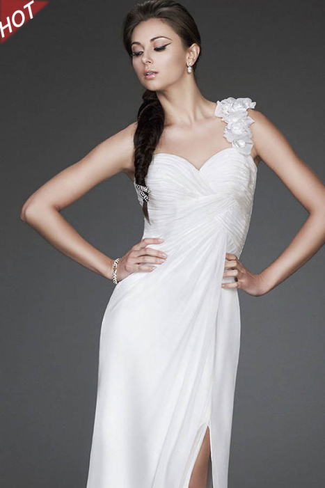 Ivory Long Homecoming Designer Single Strap Chiffon Bridal Dress Online Sale [LF16747] - $180.00 : La Femme Outlet, 60% Off La Femme Sale Online | gownprincess | Scoop.it