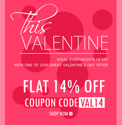 #Valentine #Offer Get Flat 14% OFF on All products. No minimum cart value required. | Deals, Offers & Updates | Scoop.it