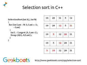 Selection sort in C Plus Plus   Learn programming with examples   Scoop.it