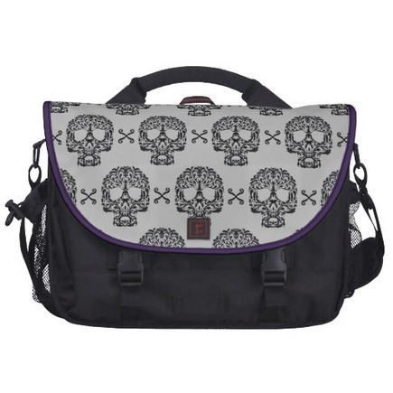 Rococo Skull and Crossed bones damask Laptop Messenger Bag from Zazzle.com | Laptop Bags | Scoop.it