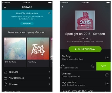 Spotify Adds Press To Play And Swipe To Save Gestures, Taking Cues From Snapchat And Tinder | new music | Scoop.it