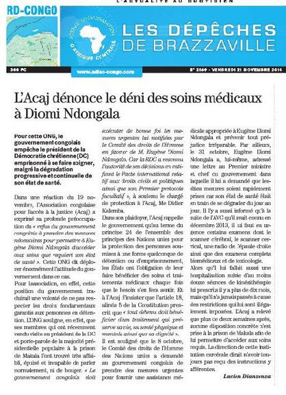 L'ACAJ DENONCE LE DENI DE SOINS MEDICAUX AU PRISONNIER POLITIQUE EUGENE DIOMI NDONGALA / DEPECHE DE BRAZZA + LETTRE DE TRANSMISSION AU GOUVERNEMENT DE LA RDC | EUGENE DIOMI NDONGALA, PRISONNIER POLITIQUE EN RDC | Scoop.it