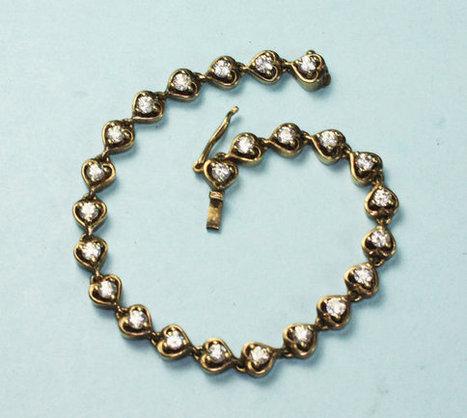 Vermeil Sterling Heart Link Bracelet with Crystals   vintage jewelry   Scoop.it