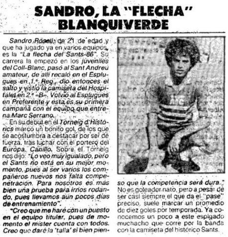"U.E. Sants: Sandro, la ""flecha"" blanquiverde | Hemeroteca | Scoop.it"