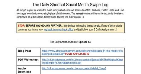 The Daily Shortcut Social Media Swipe Log | Ecoaching | Scoop.it