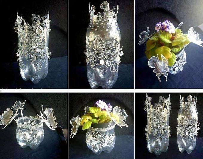 Riciclo artistico delle bottiglie di plastica