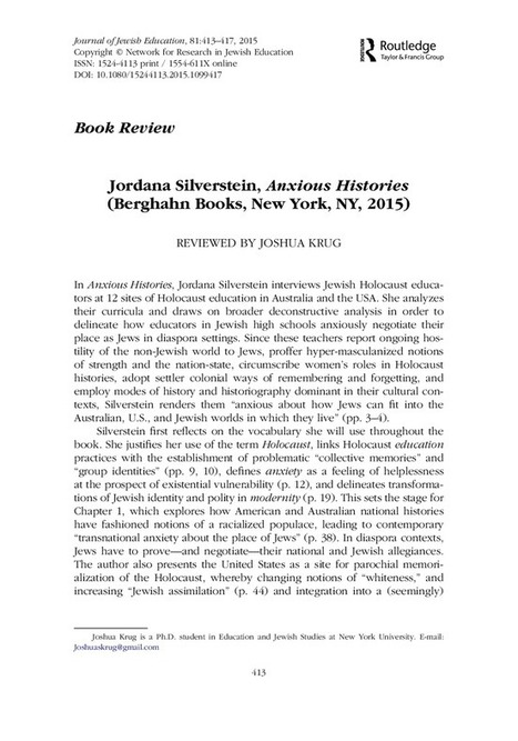 Jordana Silverstein, Anxious Histories (Berghahn Books, New York, NY, 2015) | Jewish Education Around the World | Scoop.it