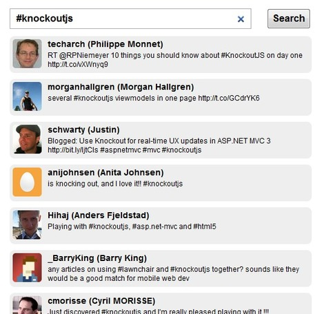 Building a Twitter live search app with Knockout, jQuery and ASP.NET MVC 3 | Jayway Team Blog - Sharing Experience | Asp.Net MVC 3 | Scoop.it