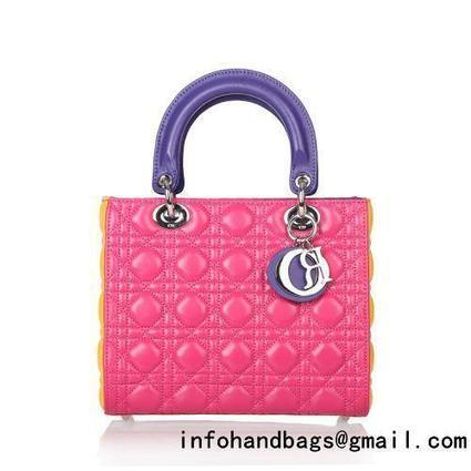 2014 Dior handbag sheep skin 3364 rose red&yellow_Lady Dior bags_Christian Dior_Handbags_replica handbags for sale at style-bags.com | replica chanel blog | Scoop.it