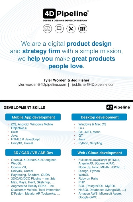 4D Pipeline - Define | Design | Develop | Deploy - and helping you make products people love | 4D Pipeline - trends & breaking news in Visualization, Virtual Reality, Augmented Reality, 3D, Mobile, and CAD. | Scoop.it