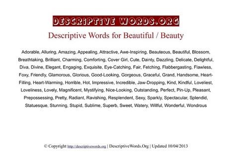 Descriptive Words for Beauty - DescriptiveWords.Org   Writing   Scoop.it
