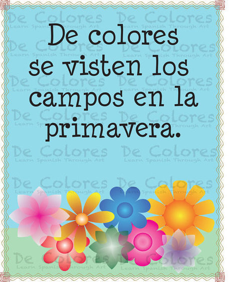 """De Colores  """"Los Campos""""  - Printable Spanish Language Children Wall Art PDF based on the lyrics of the traditional song De Colores.   Celebrity News Photos and Videos   Scoop.it"""
