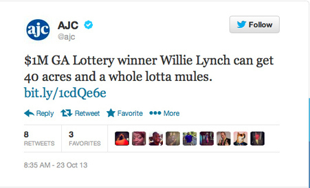 Atlanta Newspaper Sent A Tweet About A Man Buying 40 Acres And A Mule With Lottery Winnings | lottery | Scoop.it
