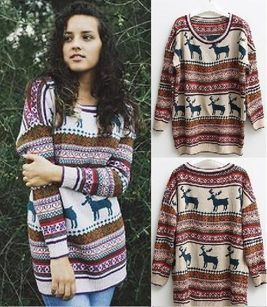 Nordic Print Oversized Knitted Jumper from yourfashionsandcute | bebpiloo | Scoop.it