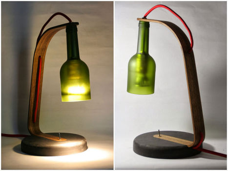 Upcycled Wine Bottle Desk Lamp | Recyclart | Céka décore | Scoop.it
