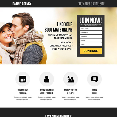 free dating site lead gen landing page design | buy landing page design | Scoop.it