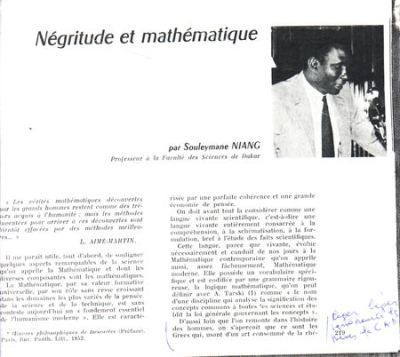 NEGRITUDE ET MATHEMATIQUE (17 avril 1971) par Souleymane Niang | Mathoscoopie | Scoop.it